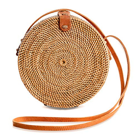 Rattan Bags for Women - Handmade Wicker Woven Purse Handbag Circle Boho Bag Bali - AVM