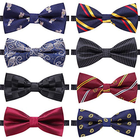 Image of 8 PACKS Elegant Adjustable Pre-tied bow ties for Men And Boys - AVM