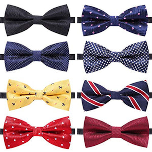 8 PACKS Elegant Adjustable Pre-tied bow ties for Men And Boys - AVM