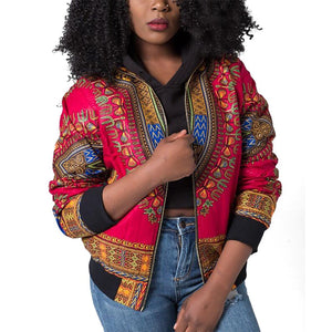 Women's Casual Afrikan Print Zipper Dashiki Jacket Coat with Pockets