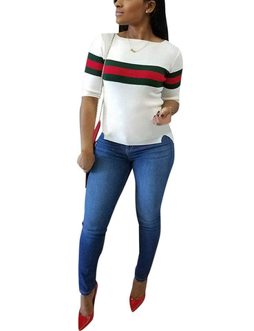 Women's Ribbed Ribbon Stripe Patchwork Half Sleeve T-Shirt - AVM
