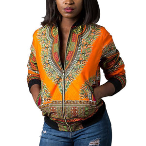 Women's Casual Afrikan Print Zipper Jacket Coat with Pockets