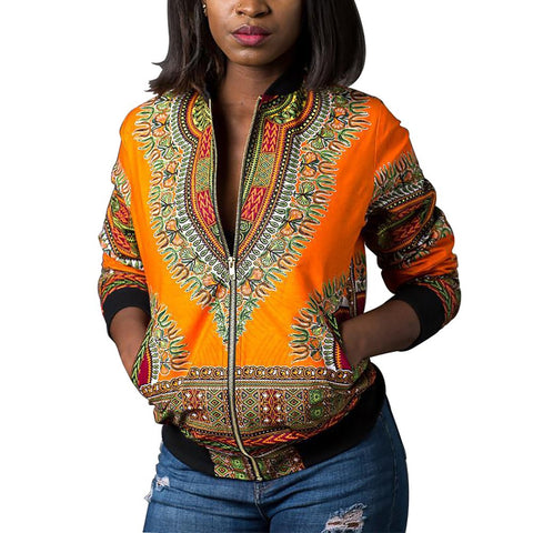 Women's Casual Afrikan Print Zipper Jacket Coat with Pockets - AVM