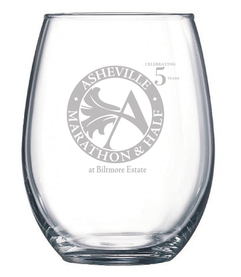 Asheville Marathon & Half Stemless Wine Glass