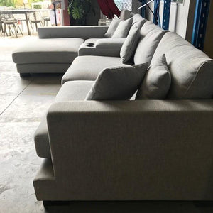 Hilton 3 seat Sofa with Cup Console Left Hand Chaise - Grey