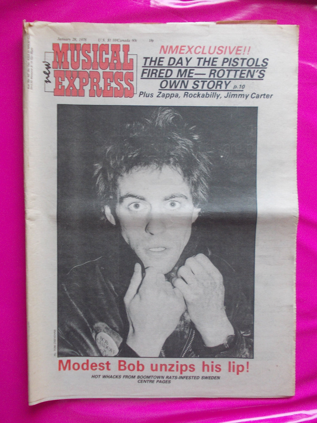 New Musical Express 28th January 1978. Includes story on Pistols split at Winterland and other punk related articles.