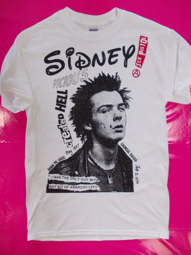 Sidney Vicious created Hell white punk rock T-Shirt