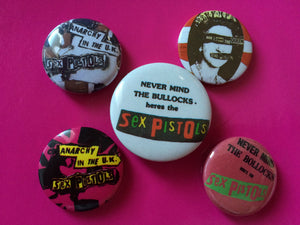 Sex Pistols - Set Of 5 x Metal Badges From The 1980's