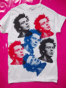 Sex Pistols - Sid Vicious multi-print white punk rock T-Shirt