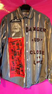 Punk Shirt In Anarchy Style With Patches And Slogans Size Small