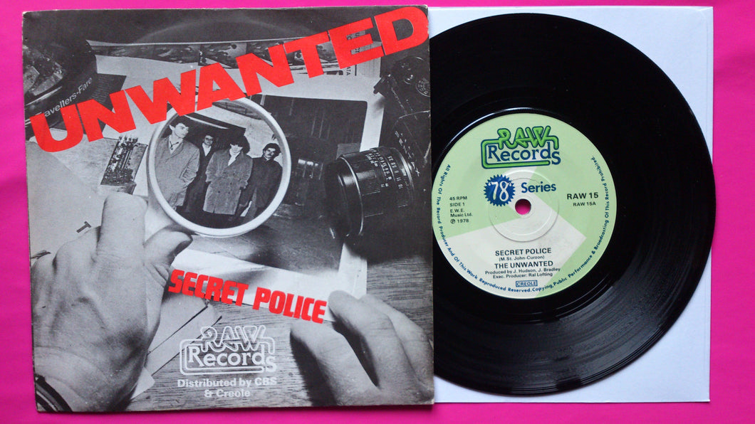 The Unwanted - Secret Police / These Boots... Rare Punk Single From 1978