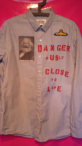 Punk Shirt In Anarchy Style With Patches And Slogans Size Medium