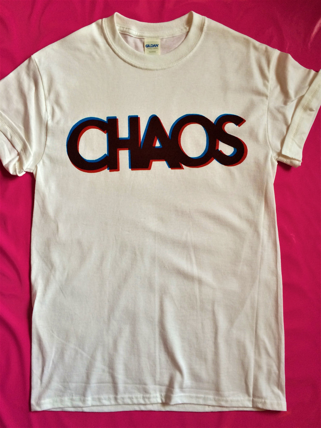 Chaos Punk Rock Slogan T-Shirt Blue & Red Print on White Shirt