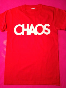 Chaos Punk Rock Slogan T-Shirt White Print on Red Shirt