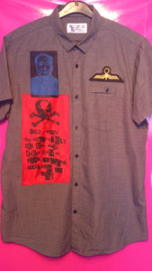 Punk Shirt in Anarchy Style With Slogan Patches etc Size Large