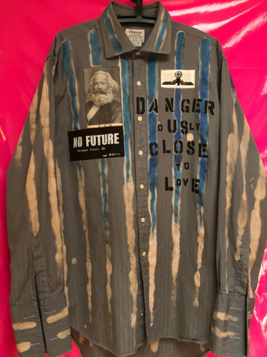 Punk Shirt In Anarchy Style With Patches And Slogans Size Large