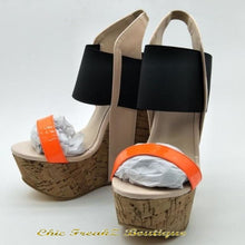Load image into Gallery viewer, Hot! Sweet Multicoloured Faux Leather 15-cm wedge sandals. - Orange / 11 - Wedge Shoes