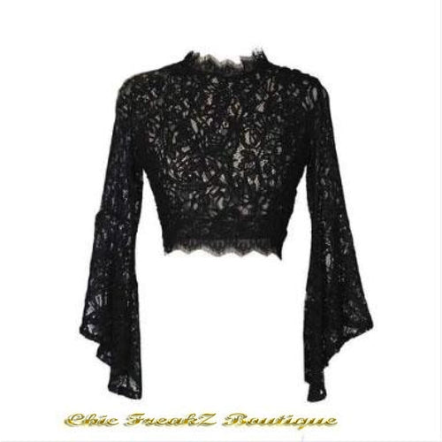 New! Womens Black Sexy Lace Blouse - Lace Tops