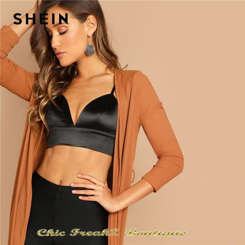 SHEIN Black Deep V-Neck Zipper Back Wire Free Bra - Cropped Tank Top