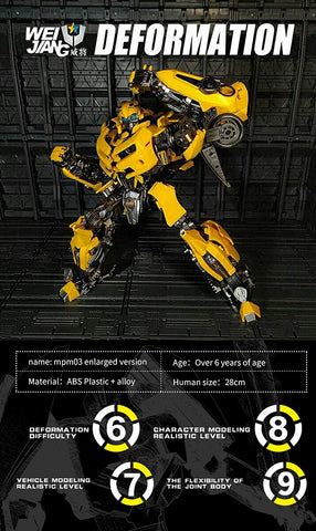 WEIJIANG Transformer MPM03 Bumblebee Oversize Version 28CM Action Figure Toys