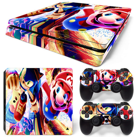 Actionfiguresale super mario For PS4 Slim Skin Sticker Vinyl Cover