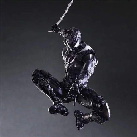 Play Arts Marvel Super Hero Black Spider-man Action Figure Toy 25cm KO version