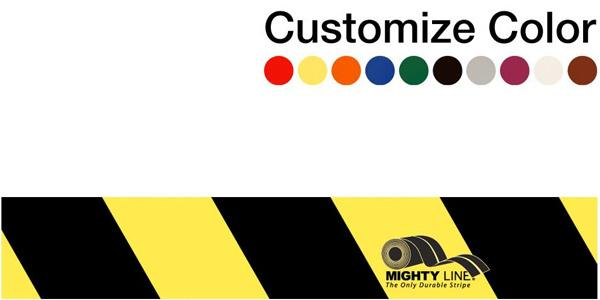 "Customized - 3"" Repeating Message Floor Tape With Black Diagonals - 1 Roll"