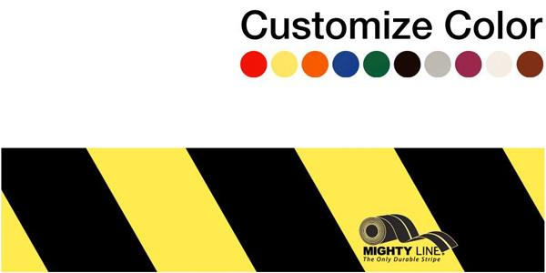 "Customized - 4"" Repeating Message Floor Tape With Black Diagonals - 1 Roll"