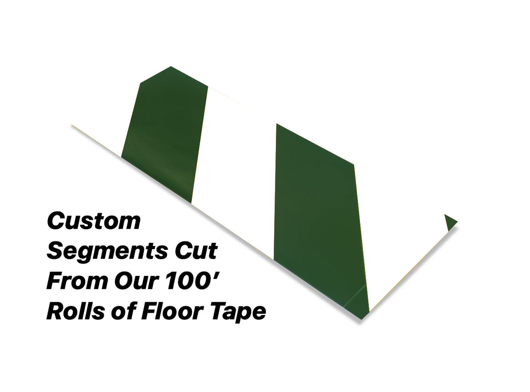 "Custom Cut Segments - 4"" White Tape with Green Diagonals - 100'  Roll"