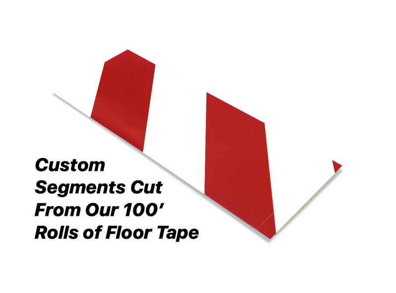 "Custom Cut Segments - 4"" White Tape with Red Diagonals - 100'  Roll"
