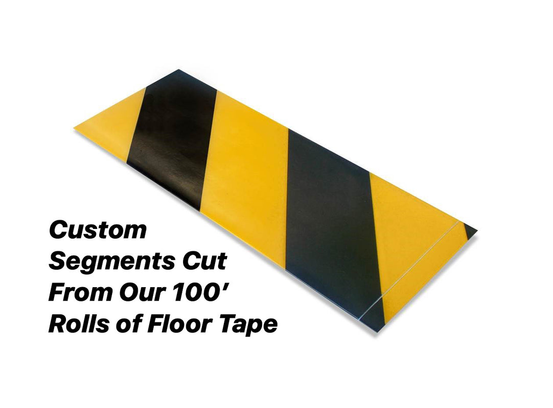 "Custom Cut Segments - 4"" Yellow Tape with Black Diagonals - 100'  Roll"