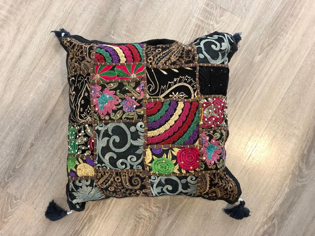Patchwork cushion cover -Black