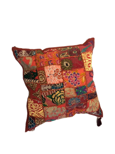 Patchwork cushion cover - Brown