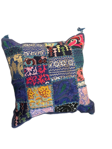 Patchwork cushion cover - Blue