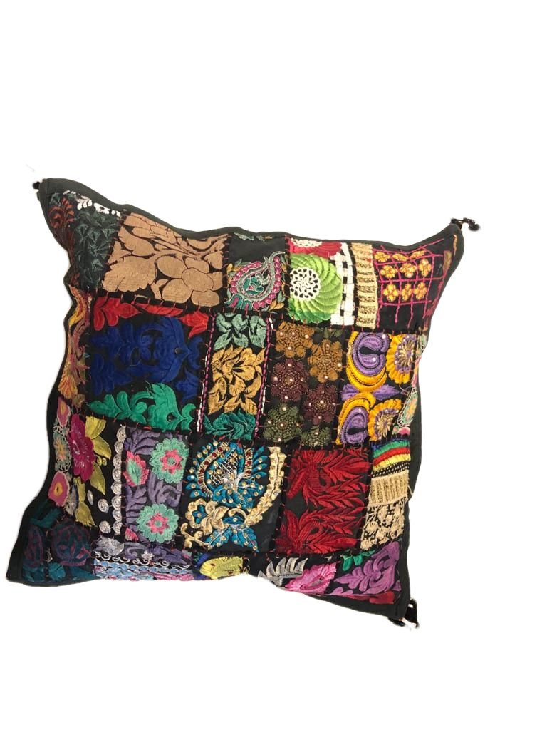Patchwork cushion cover - Black