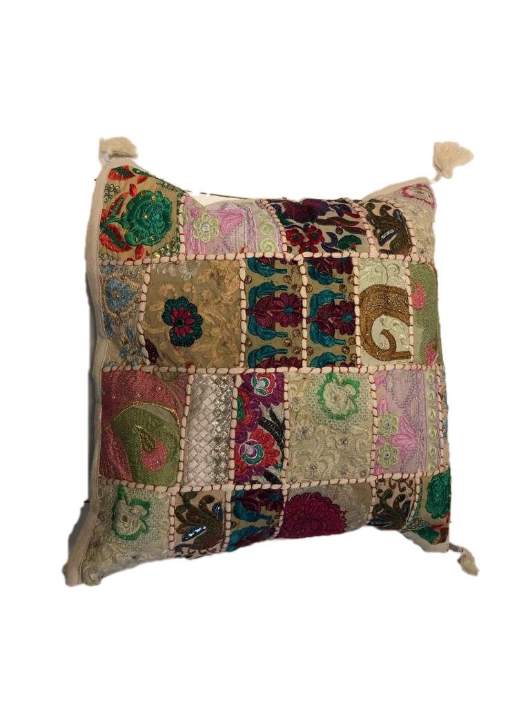 Patchwork cushion cover - white