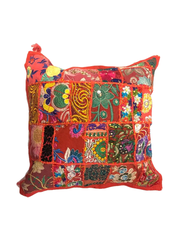 Patchwork cushion cover -Red