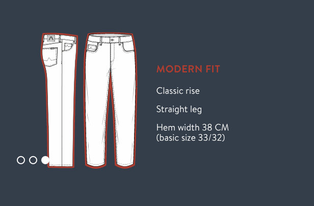 Alberto Jeans Modern Fit Size Guide
