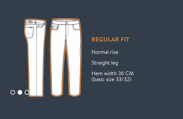 Alberto Jeans Size Chart for Regular Fit Jeans