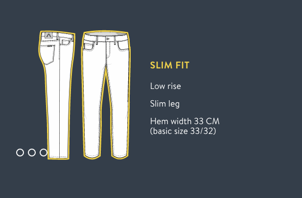 Alberto Jeans Size Chart for Slim Fit Jeans