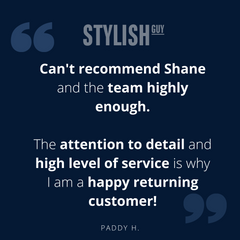Five star review from a happy customer for StylishGuy Menswear Dublin