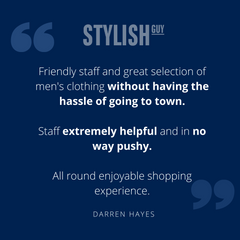 Five star customer service review at StylishGuy Menswear Dublin
