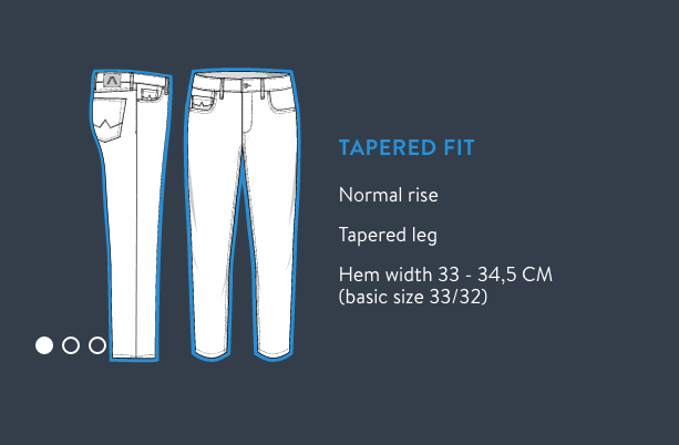 Alberto Jeans Size Chart for Tapered Fit Jeans