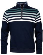 Load image into Gallery viewer, Navy Half Zip Knitted Sweatshirt with Sea Green Stripes from the new season Baileys collection at StylishGuy Menswear