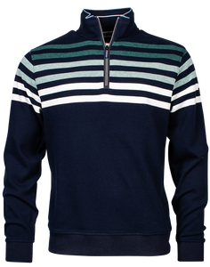 Navy Half Zip Knitted Sweatshirt with Sea Green Stripes from the new season Baileys collection at StylishGuy Menswear