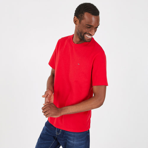 Mens red organic cotton short sleeve crew neck t-shirt from Eden Park Paris available at StylishGuy Menswear Dublin