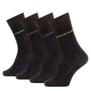Calvin Klein black socks with multicolour logo at cuff at StylishGuy Menswear.