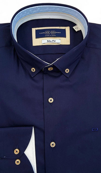 Carlos Cordoba Navy Shirt with Beige Buttons at StylishGuy Menswear