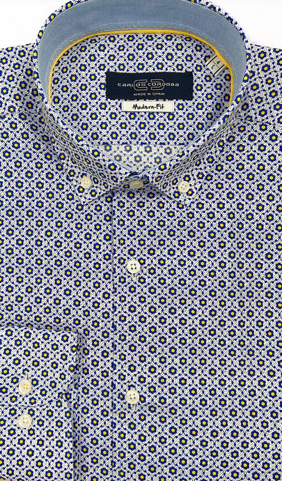 Carlos Cordoba Sky Blue Shirt with Navy Floral Pattern at StylishGuy Menswear