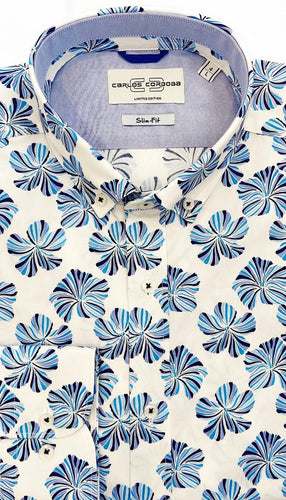 Carlos Cordoba White Shirt with Big Blue Flowers at StylishGuy Menswear
